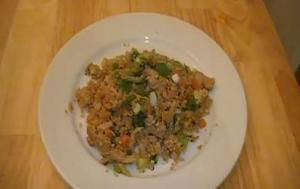 Stir Fried Cauliflower and Pork Rice
