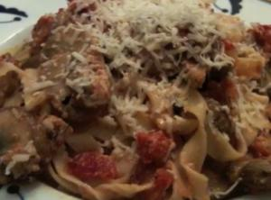 Bacon and Mushroom Fettuccine in Tomato Cream Sauce