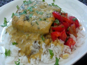 Grilled Halibut with Coconut Curry Sauce and Thai Tomato Salsa