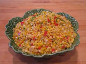 Sautéed Fresh Corn With Onions and Sweet Peppers and Natural Corn Cream