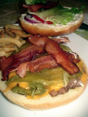 Traditional New Mexico Green Chile Cheeseburgers