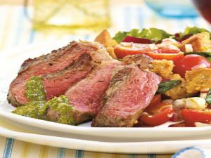 Grilled Organic Grass-Fed Strip Steaks with Basil Pesto