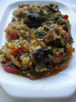 Eggplant Stew with Rice