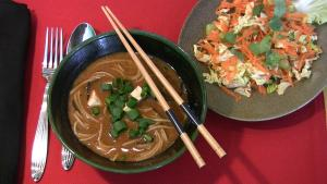 Miso Soup with Mushrooms with Carrot-Celery Salad