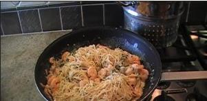 Angel Hair Pasta with Shrimp in Alfredo Sauce