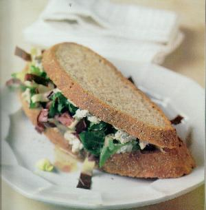 Panini with gorgonzola & greens