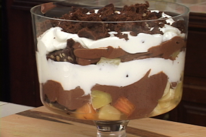 Layered Chocolate Pudding And Tropical Fruits