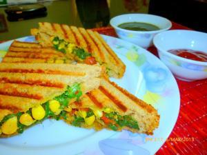 High Fiber Grilled Corn Spinach Sandwich