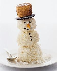 easy holiday treats - Martha Stewart's coconut snowman