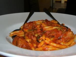 Pasta with Pork  Basil and Tomato