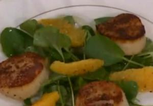 Pan-Seared Sea Scallops with a Fennel Watercress and Orange Salad