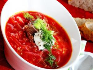 Beef Borsch with Sour Cream