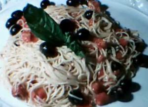 Pasta With Tomatoes Black Olives And Feta Cheese