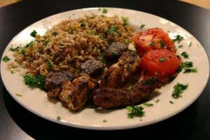 Kebabs And Onion Rice