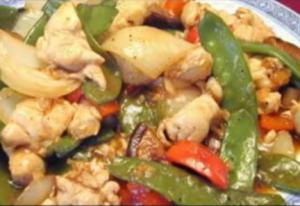 Snow Peas Chicken with Chinese Mushrooms