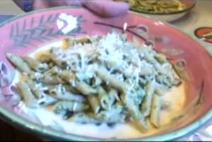 Beer Can Chicken in Pesto on Pasta