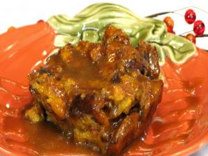 Pumpkin Bread Pudding with Caramel Sauce