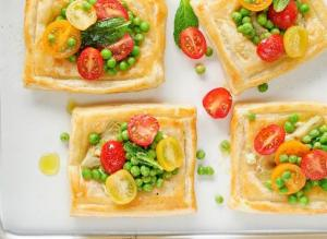 Artichoke and Feta Tarts with Tomato Salad