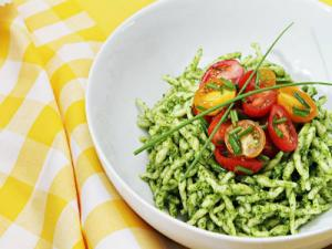 Gemelli with Arugula Pesto and Warm Cherry Tomatoes