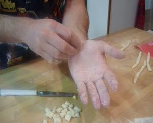 Making Trofie Ligurian Pasta Shapes