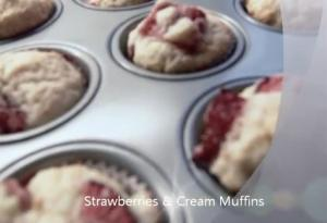 Raspberries and Cream Muffins