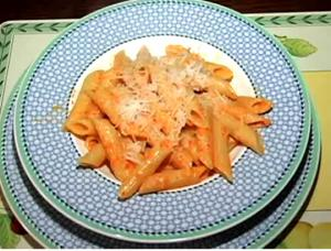 Penne In Orange Bell Pepper Cream Sauce
