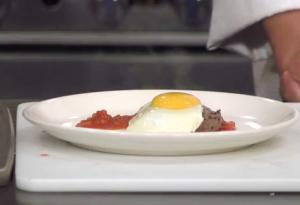 Steak and Eggs with Spicy Bloody Mary Sauce