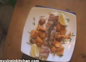 Cod Wrapped Bacon with Sweet Potato Chips
