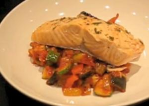 Salmon en Papillote with Ratatouille Nicoise