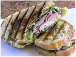 Grilled Ham & Turkey Panini with Pesto