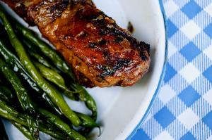 Roasted Peach and Whiskey Glazed Country Style Pork Ribs