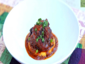 Braised Oxtail with Grilled Polenta and Gremolata