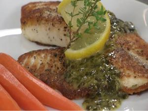 Tilapia with White Wine Basil Sauce