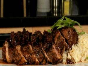 Fresh Rosemary Marinated Pork Loin with a Dry Cherry and Mustard Compote and Jasmine Rice