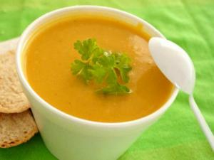 Pumpkin Soup Flavored With Nutmeg And Thyme