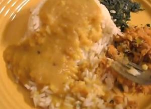 Split Pea Soup with Steamed Rice and Sauteed Spinach and Salt Fish