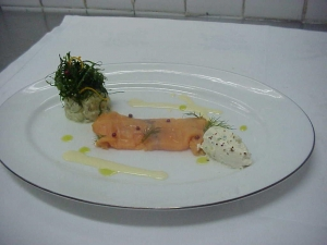 Smoked salmon with lobster and potato salad