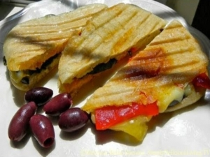 Eggplant, Roasted Red Pepper and Cheese Panini
