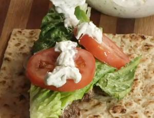 Lamb Gyros featuring Flatbreads from Damascus Bakery