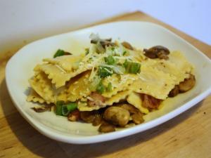 Ravioli With Mushrooms And Sugar Snap Peas