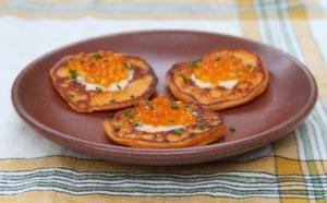 Sweet Potato & Apple Blini with Bourbon Infused Trout Roe