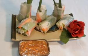 Seafood Spring roll with Peanut Sauce