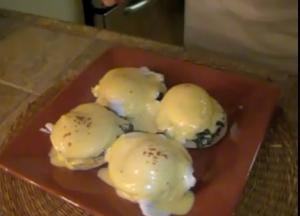 English muffin with Spinach and Cream, Poached Eggs and Hollandaise sauce