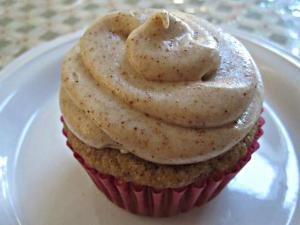 Guilt Free Year Round Eggnog Cupcakes with Eggnog Cream Cheese Icing