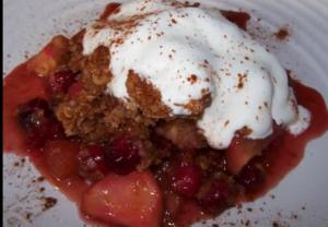 Crustless Cranberry and Apple Crumble