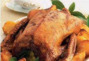 Roast Goose With Sage, Onion And Apple Stuffing