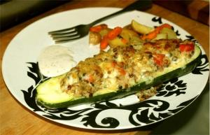 Zucchini With Brown Rice Stuffing