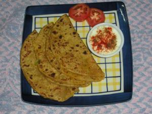 Homemade Potato Garlic Paratha
