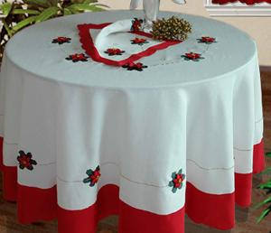 The Christmas themed table cloths are essential for Christmas table setting.