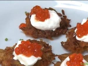Latkes Hors d'oeuvres and Latkes with Eggs Benedict